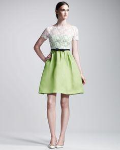 Lace Bodice Organza Dress - Valentino