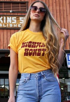 We've got those road vibes.. Our Highway Honey tee is printed on 70's inspired, marigold yellow tees, with burgundy and brown print. Unisex sizing, meaning a looser women's fit. We suggest women order