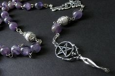 Pagan Necklace. Goddess Necklace. Amethyst Necklace. Gemstone Necklace. Wiccan Meditation Rosary Necklace. New Age Jewelry. Handmade Jewelry by Gilliauna from Bits n Beads by Gilliauna. Find it now at https://ift.tt/2agyoCs!