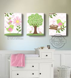 Baby Girls Nursery Art  Birdies canvas art Baby by MuralMAX, $125.00