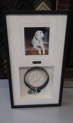 Take an impression of your dog or cat's paw; use their collar or favorite pet toy & mount it inside a frame with a picture of your beloved pet. #DogMemorial