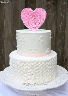 Braided Buttercream & Ruffled Heart Topper Tutorial by MyCakeSchool.com Online Cake Decorating Classes!