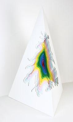 Jen Stark, Hand-cut paper and wood sculpture Jen Stark, 3d Paper, Paper Crafts, Paper Quilling, Instalation Art, Acrylic Paint On Wood, Art Web, Wood Sculpture, Paper Sculptures