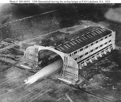 USS Shenandoah (ZR-1)    Leaving the airship hangar at Naval Air Station Lakehurst, New Jersey. Probably photographed when she left the hangar for the first time, on 4 September 1923.    U.S. Naval Historical Center Photograph