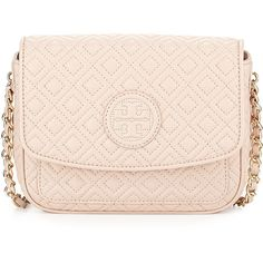 Tory Burch Marion Quilted Mini Shoulder Bag (€380) ❤ liked on Polyvore featuring bags, handbags, shoulder bags, purses, light oak, leather man bags, leather crossbody, cross-body handbag, leather purses and purses crossbody