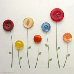 Cute Button Flowers. a simple craft project for children or sewers; ready to frame as a gift. Salvage, recycle, upcycle, repurpose!