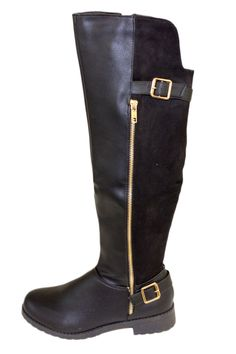 Black Over The Knee Boots With Gold Zipper And Two Buckle Straps
