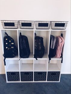 20 of the coolest Kmart hacks EVER! Kmart hack storage lockers in entry for kids. Where to hang kids school bags School Bag Storage, Kids Storage, Storage Hacks, Cube Storage, School Organization, Garage Storage, Storage Solutions, Storage Ideas, Ikea Organization