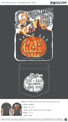 Delta Delta Delta Halloween Swap Shirt   Sorority Halloween Swap   Greek Halloween Swap #deltadeltadelta #tridelta #tridelt #ddd #Halloween #Swap #pumpkin Sorority Social Themes, Sorority Socials, Alpha Phi Shirts, Tri Delta, Custom Design Shirts, Sorority And Fraternity, Mixers, Comfort Colors, Halloween Shirt