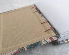 A6 floral print handbound Coptic stitch notebook 11x15 cm