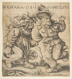 Bolinka and Marcolfus  Daniel Hopfer  (German, ca. 1470–1536)  Artist: After Hans Weiditz the Younger (German, Freiburg im Breisgau before 1500–ca. 1536 Strasbourg)  Date: late 15th–early 16th century  Medium: Etching; fourth state of four Dimensions: sheet: 9 5/8 x 8 3/4 in. (24.4 x 22.2 cm)  Classification: Prints  Accession Number: 51.501.396