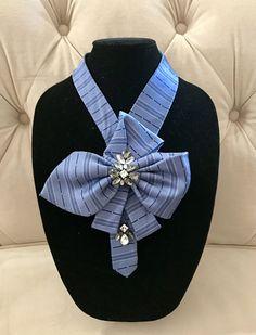 Necklaces Diy Necktie Necklace by AdornBeadingDesigns on Etsy - Blue, navy, Diy Necktie Necklace, Scarf Necklace, Diy Necklace, Sewing Art, Sewing Crafts, Cool Tie Knots, Old Ties, Tie Crafts, Mens Silk Ties