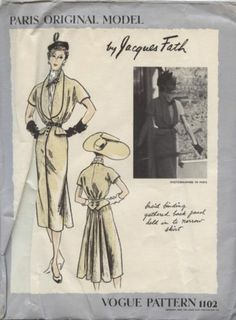 Vintage Vogue Paris Original Model Couture Dress Pattern & Label #1102 Fath sz12