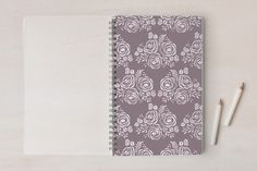 Seal of roses Notebooks by Ana de Sousa at minted.com    #art #class #school #journal #notebook #fashion #purple #flower #roses #pattern #gift #girl #stationery #escuela #cuaderno #clases #escola #caderno #aulas #teen #minted #portuguese #madeira