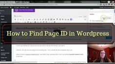 How to Find Page ID in WordPress   If you're using plug-ins on your blog that ask for the page ID...here's how to find it. Page ID is not the post or page name.