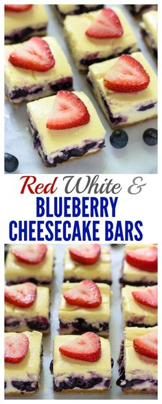 Red White and Blueberry Cheesecake Bars made with Greek yogurt. The ...