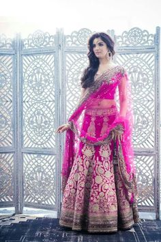 Designer Engagement Dresses For Indian Bride 2017 with the latest fashion trends to make you trendy look. These Designer Engagement Dresses are designed by Indian Traditions. Indian Bridal Wear, Indian Wedding Outfits, Bridal Outfits, Indian Outfits, Bridal Dresses, Indian Weddings, Bride Indian, Indian Wear, Pink Lehenga