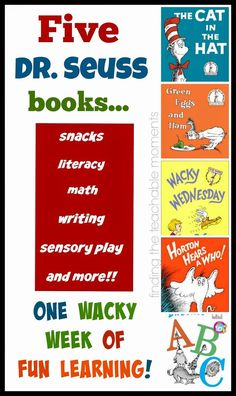 Dr Seuss Week- So many fun ways to learn with five different Dr Seuss books!  Enough activities to create a literature-based unit study for each book.  Ideas for snacks, literacy, math, sensory play, writing prompts, and just plain fun!!