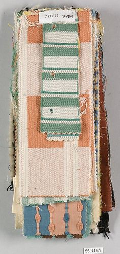 After teaching in the weaving workshop of the Bauhaus Dessau, Otti Berger established her own textile studio in Berlin. This sample book contains twenty-two pieces of fabric in various designs, colors, and weaves displaying the use of stabilized synthetic dyes and mercerized cotton
