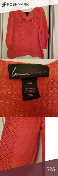 Lane Bryant Coral see thru top Adorable LB see thru coral top. Gently used. Has a draw string v-neck. Perfectly paired with a variety of camis and tanks. Great with jeans and boots in the fall! Lane Bryant Tops Tunics