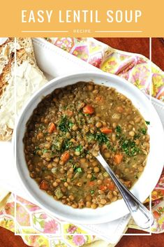 This easy, budget-friendly lentil soup recipe is endlessly adaptable. It can be made on the stovetop or in a slow cooker. It can be vegetarian or include bacon.
