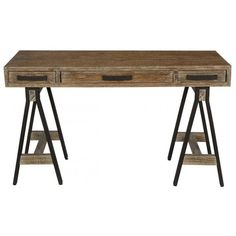 Rustic Desk With Sawhorse Table Legs. Find This And 50,000 More At  PFOdirect.com