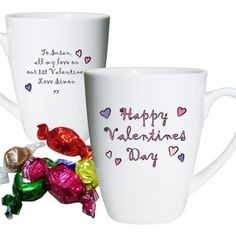 Personalised Happy Valentines Day Mug  Valentines Day Gift for Girls
