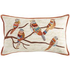 Embroidered Birds on Branch Pillow | Pier 1 Imports