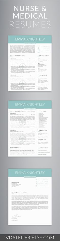 Elegant and professional resume template for nurses, doctors, and - template for nursing resume
