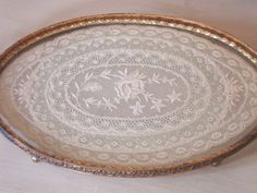 VINTAGE LACE TRAY - Vanity - Gold Ornate - Floral - Glass - Cottage Chic - Shabby. $32.00, via Etsy.