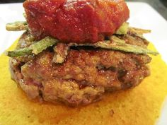 Angola Burger recipe ~ Red Palm and Spice burger with Fried Okra and Spicy Pepper Relish served on Yucca cake