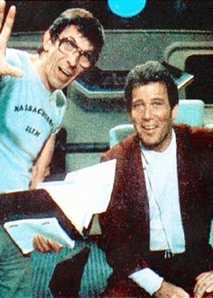 Leonard Nimoy and William Shatner behind the scenes