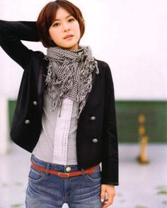 Juri Ueno. Like the bright belt, jacket and white buttondown, and the scarf to add a touch of softness.