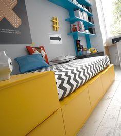 Detalle de los módulos cubo que forman la cama