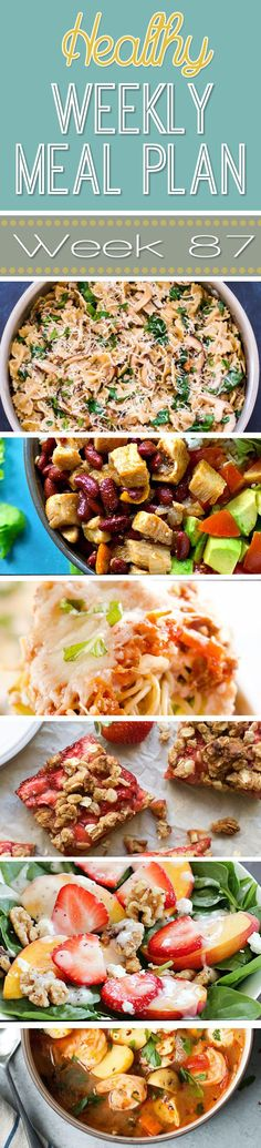 A delicious mix of healthy entrees, snacks and sides make up this Healthy Weekly Meal Plan for an easy week of nutritious meals your family will love! Healthy Weekly Meal Plan, Healthy Meals For Kids, Easy Healthy Breakfast, Good Healthy Recipes, Healthy Chicken Recipes, Healthy Eating, Healthy Menu, Healthy Snacks, Frugal Meals