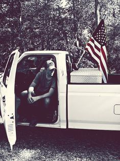 American boy guys country flag truck american