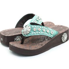 Western Bling Flip Flops $59.00 I will take these in blk and brn too please