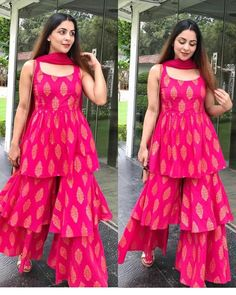 Sharara's are still in fashion, and is also a perfect silhouette and a great way to give your kurta's a stylish kick. dresses indian 5 Layered Sharara Designs To Give Your Regular Kurta's A Kick Sharara Designs, Lehenga Designs, Kurta Designs Women, Kurti Designs Party Wear, New Kurti Designs, Party Wear Indian Dresses, Designer Party Wear Dresses, Dress Indian Style, Cotton Dress Indian