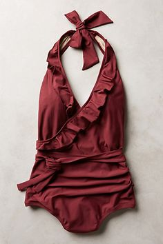 Beautiful ruffled halter maillot #anthrofave http://rstyle.me/n/uigpvnyg6