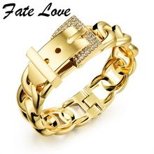US $7.20 Fate Love Punk Women Jewelry Smooth Simply Girl Bracelet Gold Color 18mm Wide Bracelet Dazzle CZ Paved Clasps Belt Buckle FL499. Aliexpress product