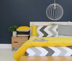 This New Zealand designed and made duvet by Thread Design is perfect for every home.  Mix with bold block colours prints to add your own flair to this modern chevron duvet.