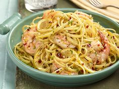 Linguine with Shrimp Scampi Recipe : Ina Garten : Food Network I added fresh tomato, spinach, yellow bell pepper and siracha, yum!!