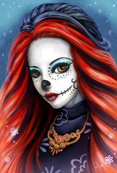 Skelita Calaveras by beniart33           Pintava se o cabelo de vermelho e deve ficar lindo!!!