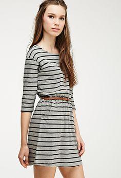 Stripe Print Belted Dress | Forever 21 - 2000054211