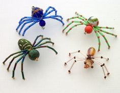 colorful bead spiders