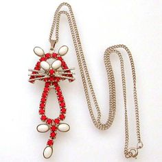 Fun Vintage Cat Red White Rhinestone Pendant on Sterling Chain by Celebrity New York on Etsy, $19.00