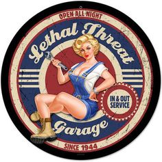 Retro Lethal Garage Pinup Metal Sign 14 x 14 Inches Art Vintage, Vintage Metal Signs, Vintage Design, Vintage Posters, Pin Up Vintage, Vintage Cars, Illustration Photo, Illustrations, Garage Art