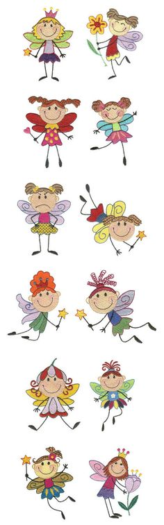 Embroidery | Free Machine Embroidery Designs | Stix fairies. Could use as appliqué designs.