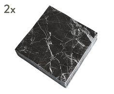 """Komplet 2 opakowań serwetek """"Black Marble"""", 16,4 x 16,5 x 3 cm"""