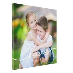 LOVE Writing Custom Photo Canvas Stretched Canvas Print